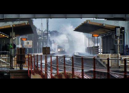Waves over Dawlish Station