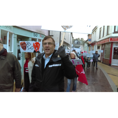 Martin protesting to save Teignmouth hospital