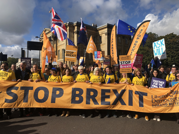 Liberal Democrats leading the Stop Brexit march in October 2019